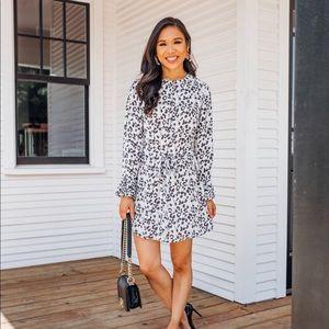 Loft Leopard Print Pleated Dress